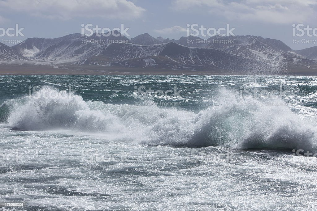 Wave of Namtso Lake stock photo