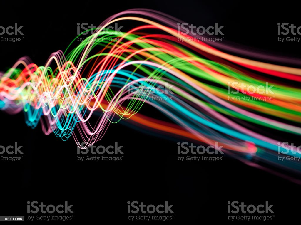 Wave of Pyrotechnic Coloured Lights stock photo