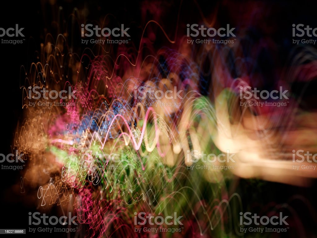 Wave of Pyrotechnic Coloured Lights royalty-free stock photo