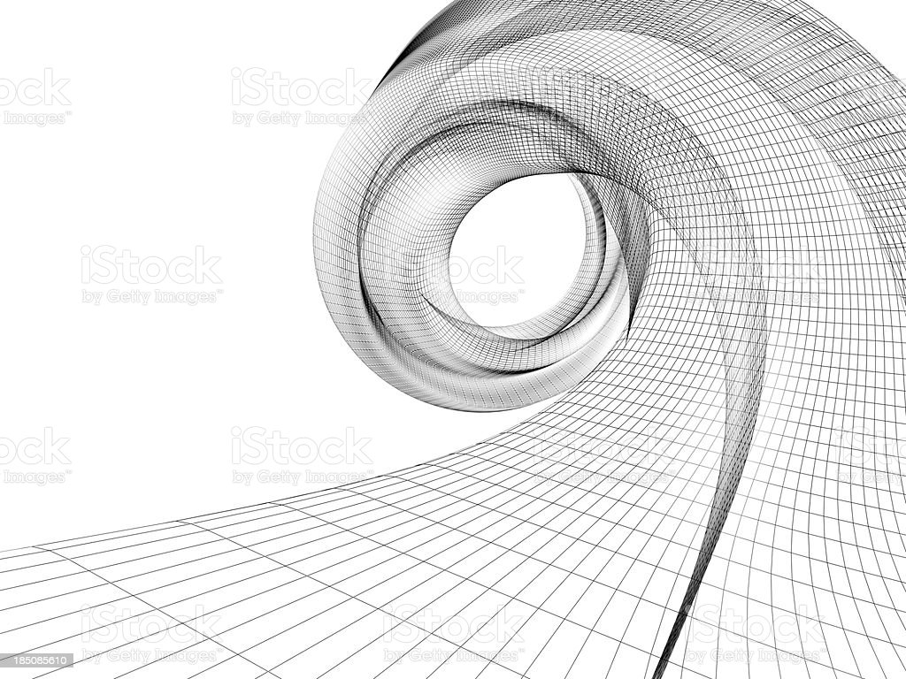 A wave of wireframe against a white background stock photo