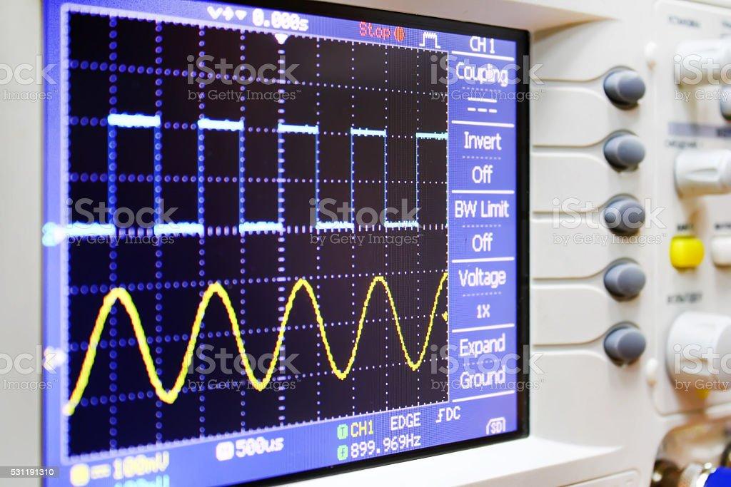 wave on oscilloscope stock photo
