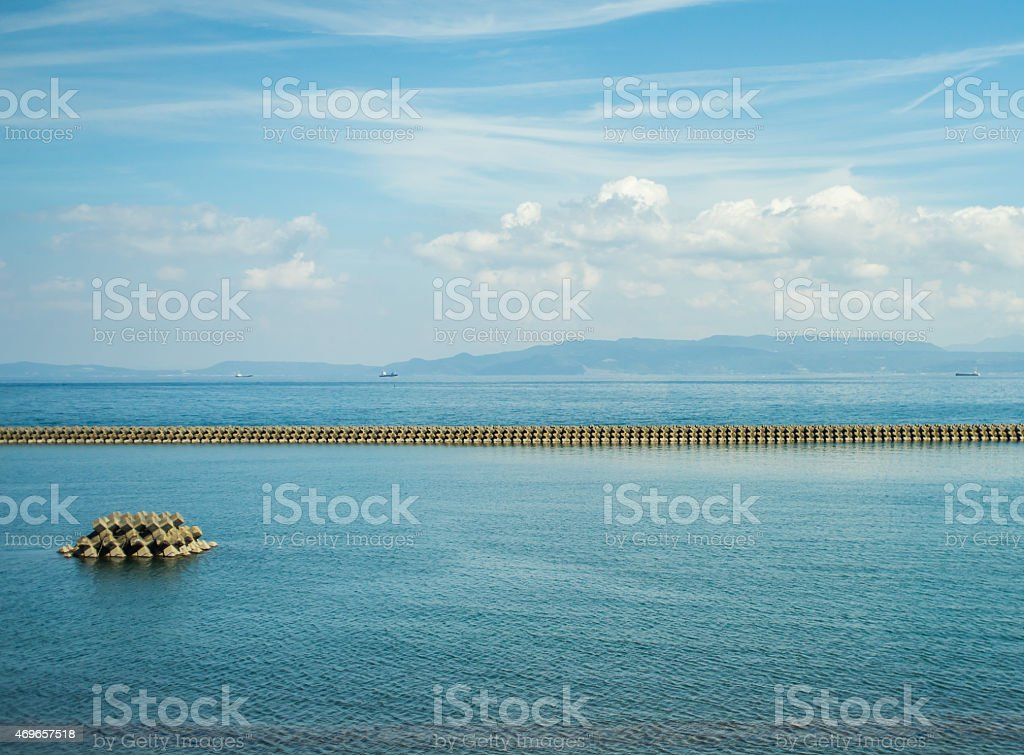 Wave protection in Japan stock photo