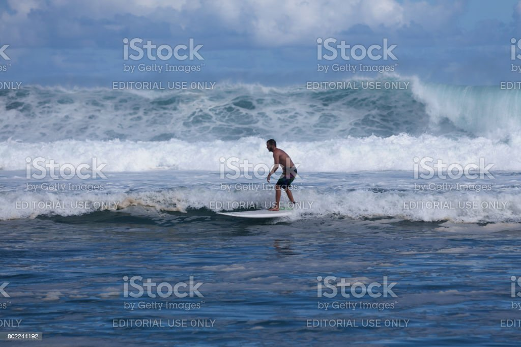 Wave rider in Reunion Island stock photo