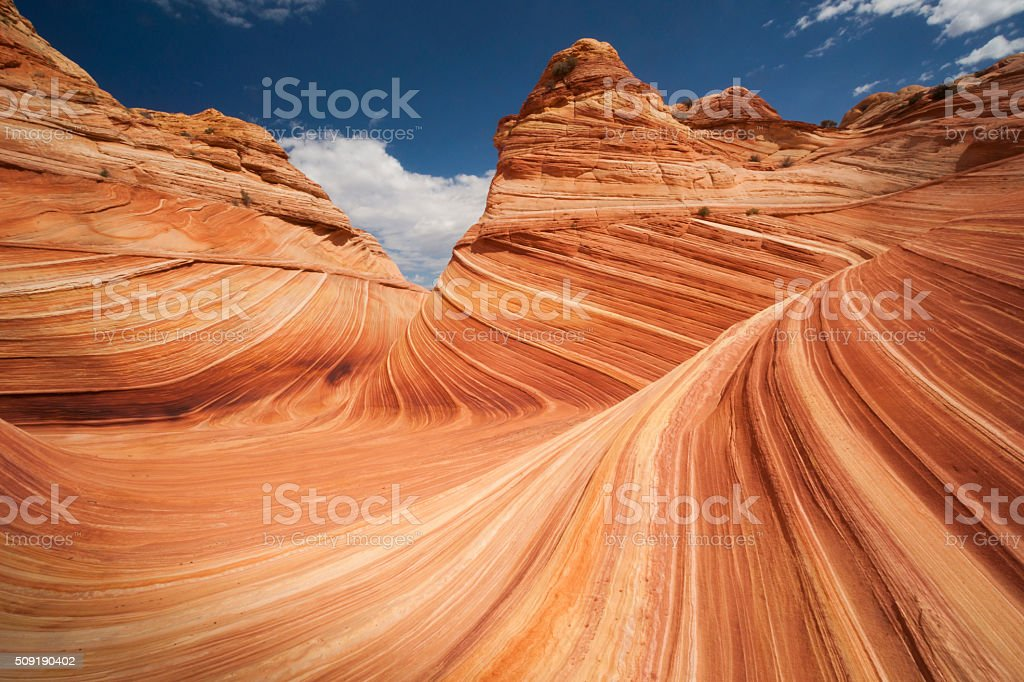 Wave rock formation in Arizona stock photo