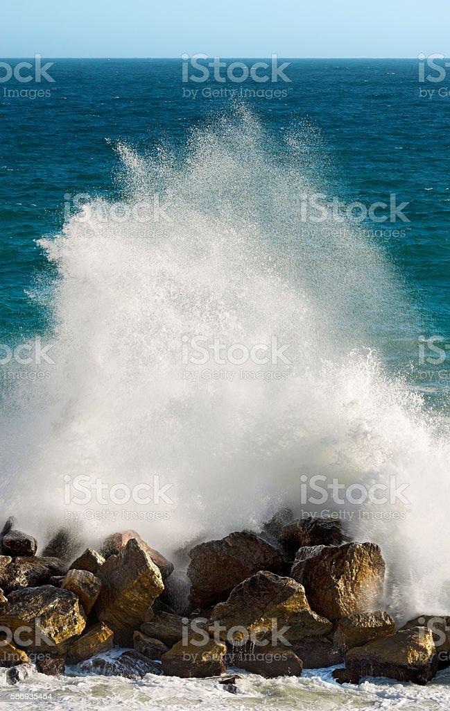 Wave Splashing - Liguria Italy stock photo