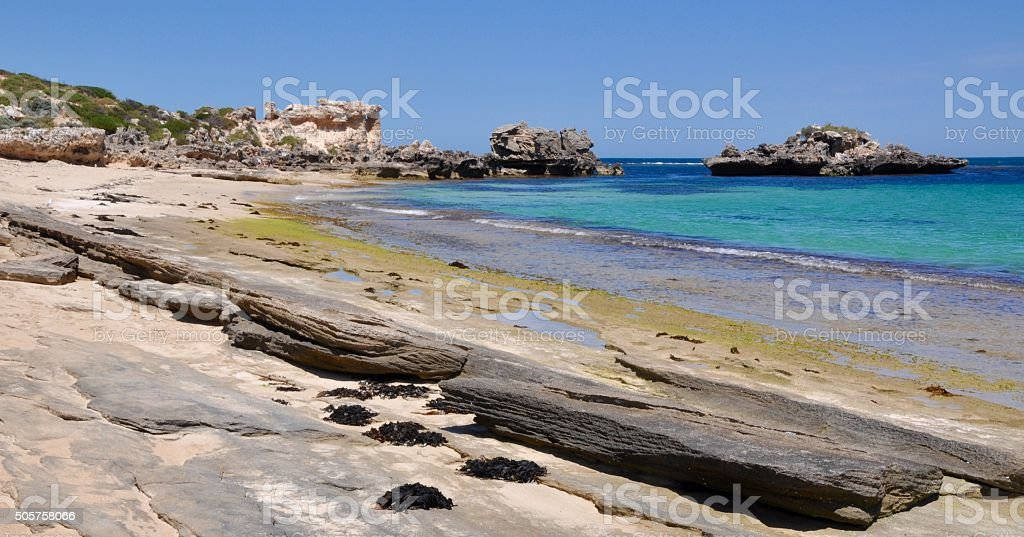 Wave-cut Limestone: Cape Peron Beach stock photo