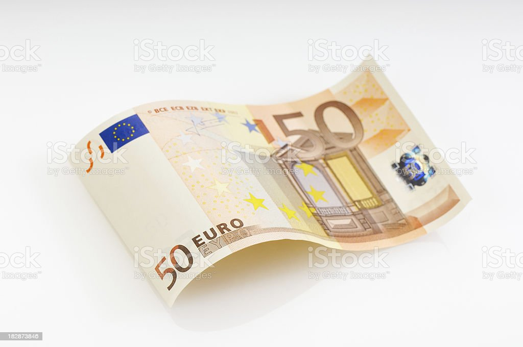 Waved fifty Euro banknote stock photo