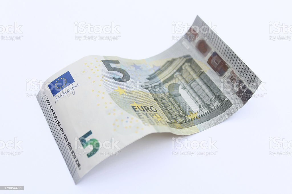 Waved five Euro banknote royalty-free stock photo