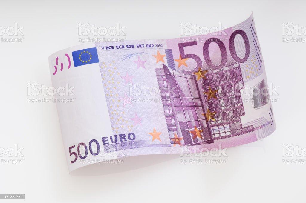 Waved five hundret Euro note stock photo