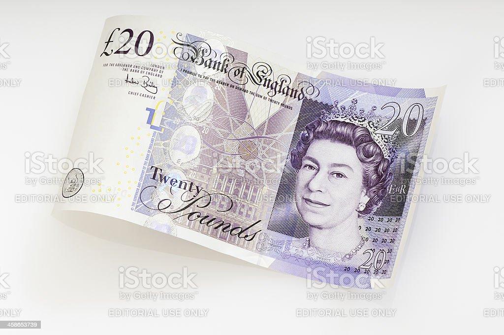 Waved twenty pound note / british currency stock photo
