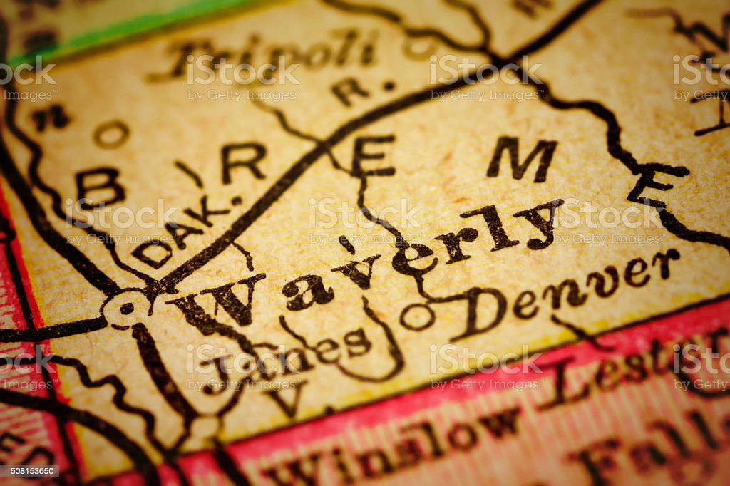 Waverly, Iowa on an Antique map stock photo