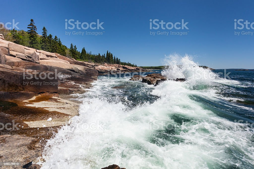 Waves along the coast of Acadia National Park in Maine stock photo