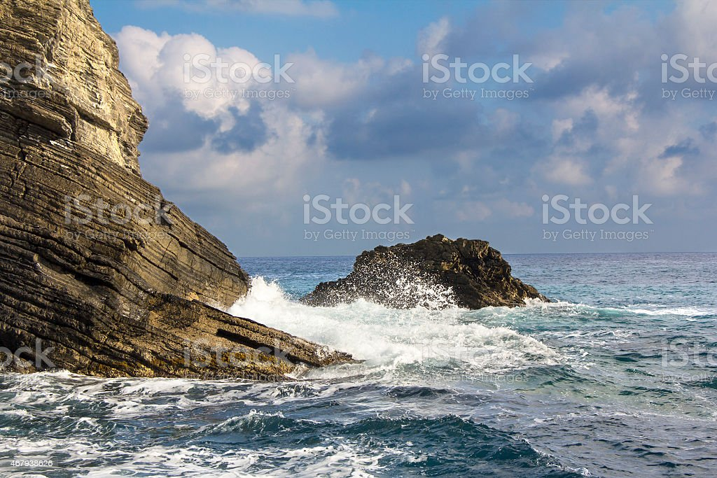 Waves and Cliffs stock photo