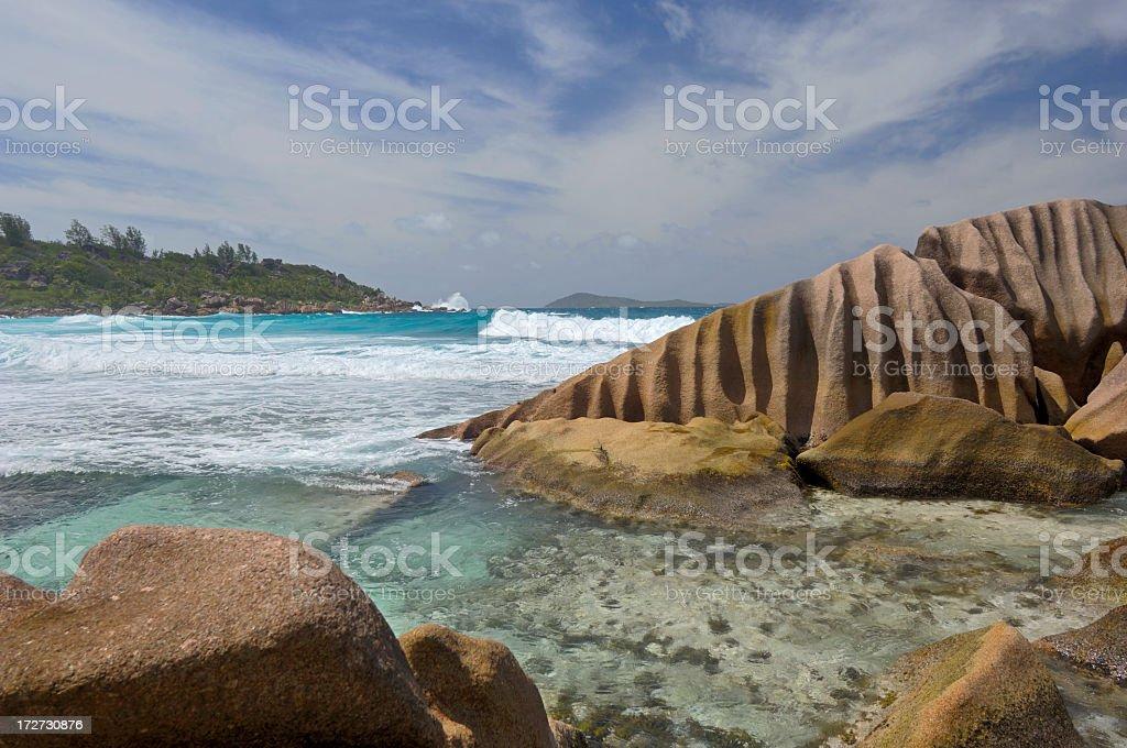 Waves and rocks at Anse Cocos royalty-free stock photo
