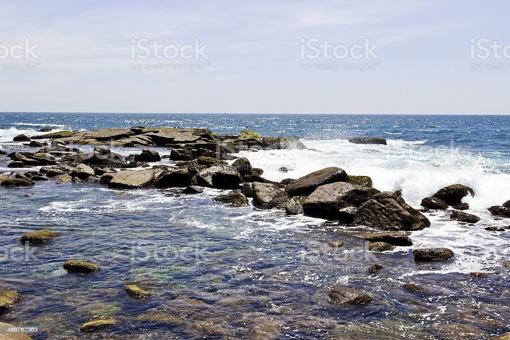 Waves and rocks in the Ocean royalty-free stock photo