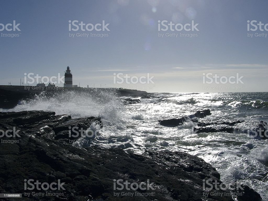 Waves at Hook Head stock photo