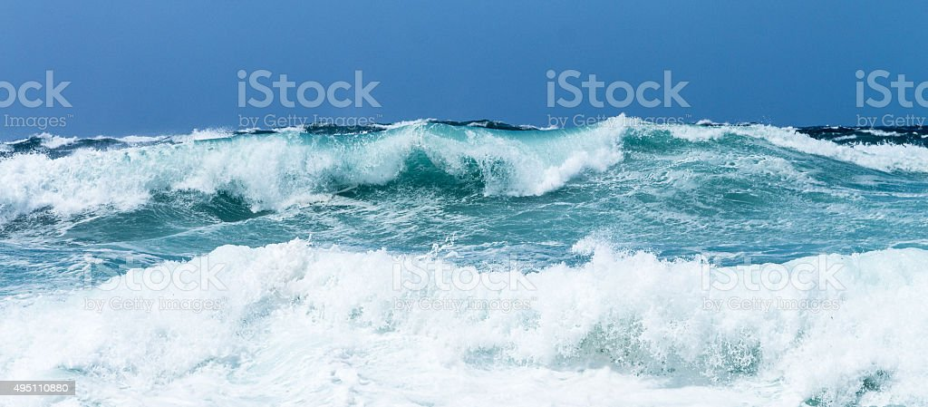Waves at mediterranean Sea stock photo