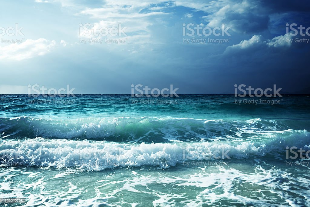 waves at Seychelles beach stock photo