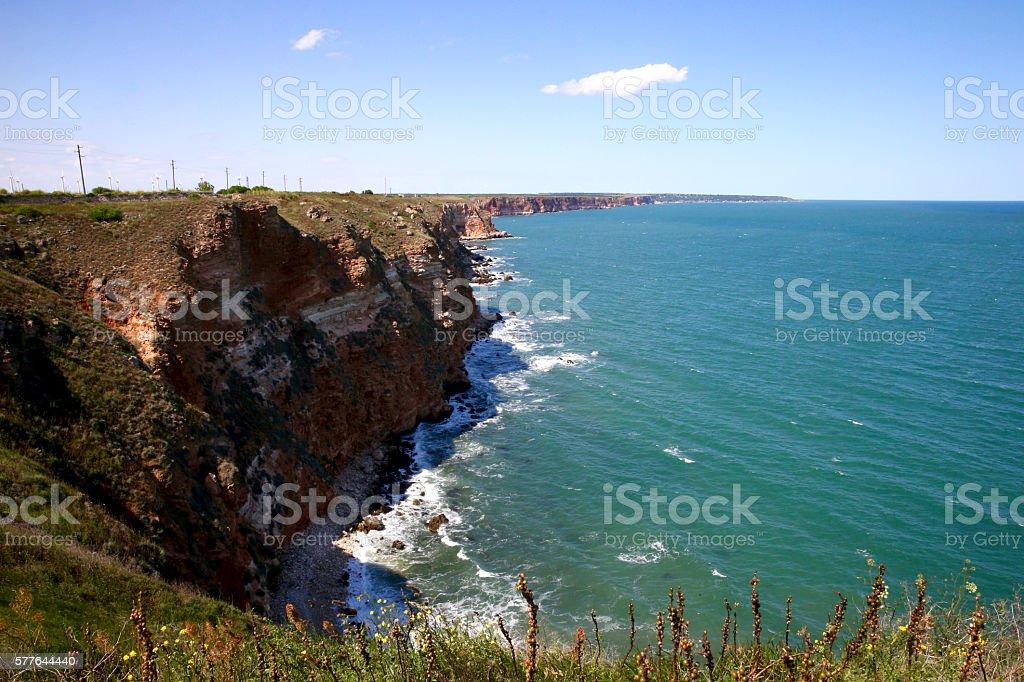 Waves at shore of Cape Kaliakra. Bulgaria. stock photo
