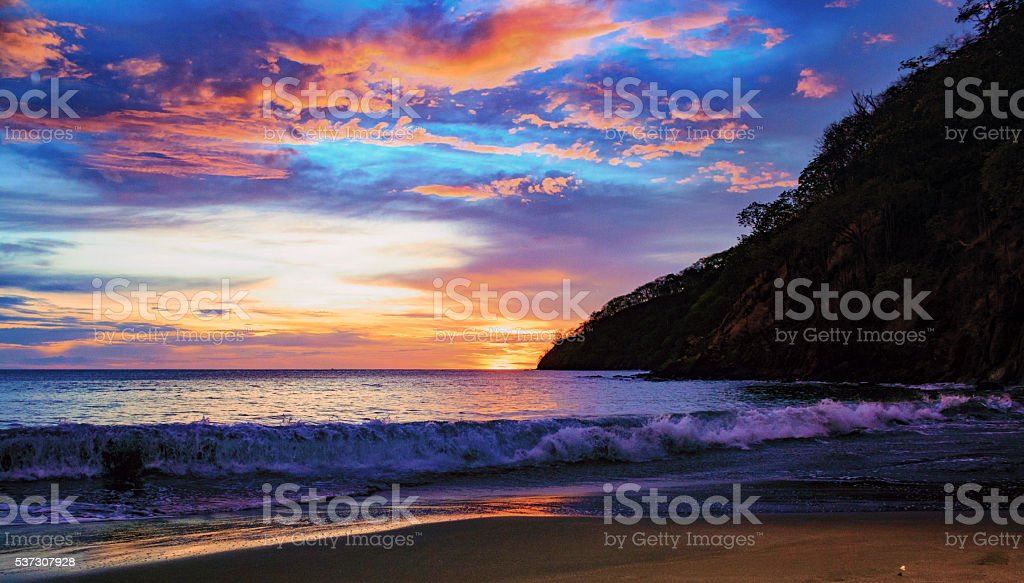 Waves at Sunset stock photo