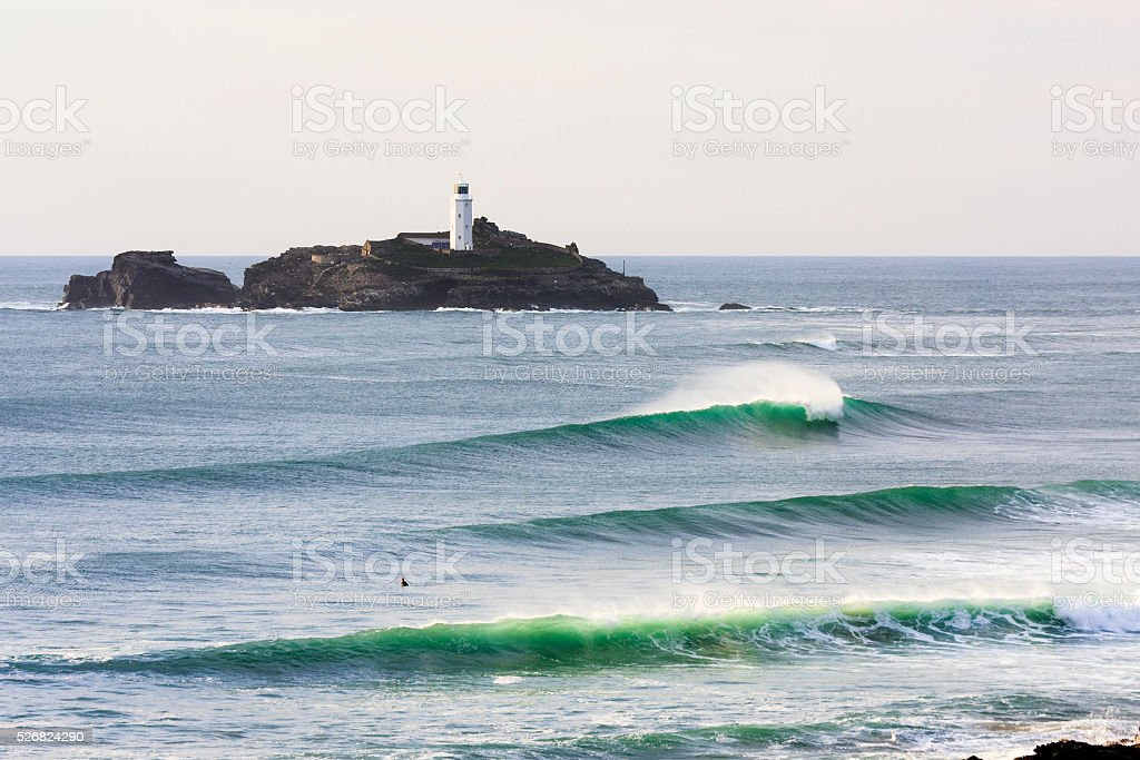 Waves breaking at Godrevy near St Ives in Cornwall stock photo