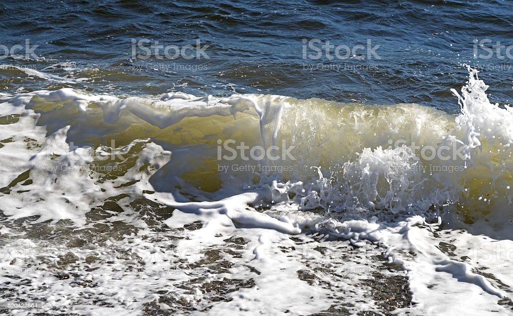 Waves breaking on shore in Penobscot Bay, Maine stock photo