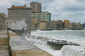 Waves breaking over sea wall, Malecon, La Habana