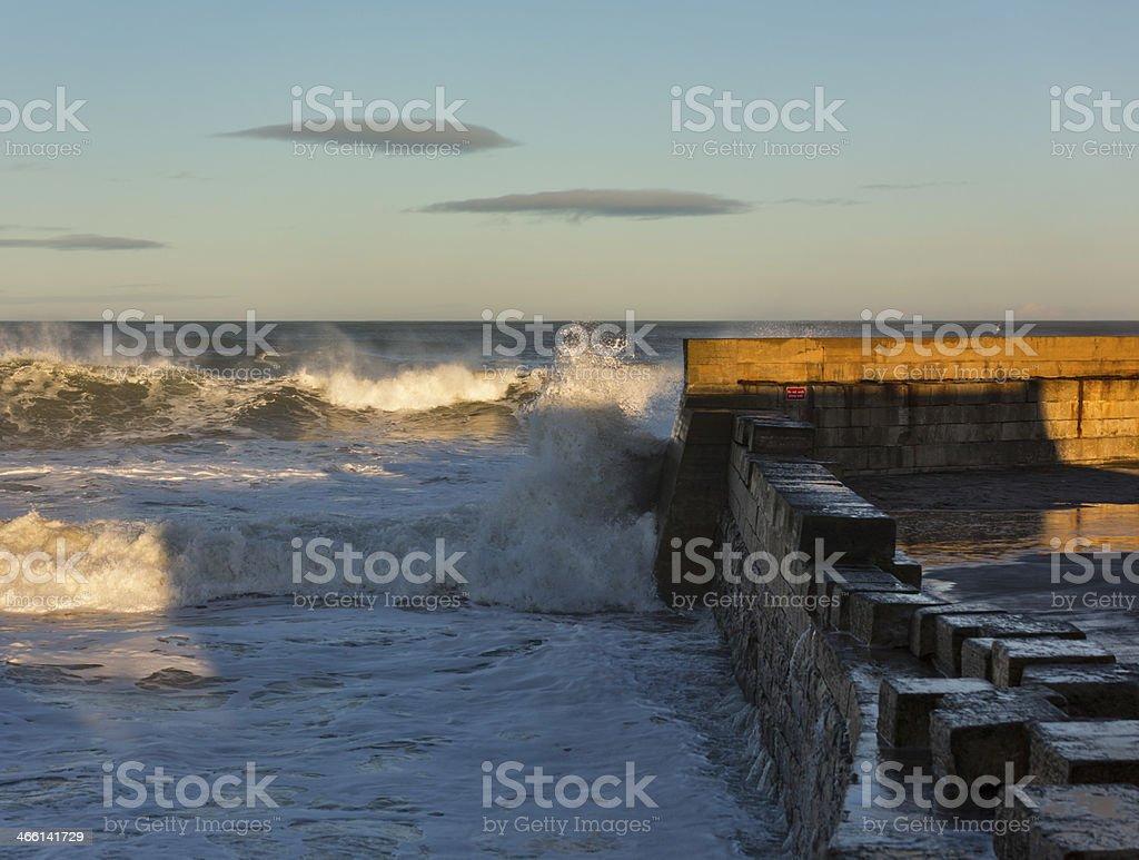 Waves crashing at Lossiemouth. stock photo