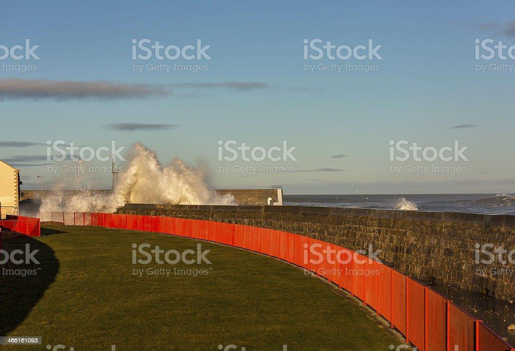 Waves crashing at Lossiemouth. royalty-free stock photo