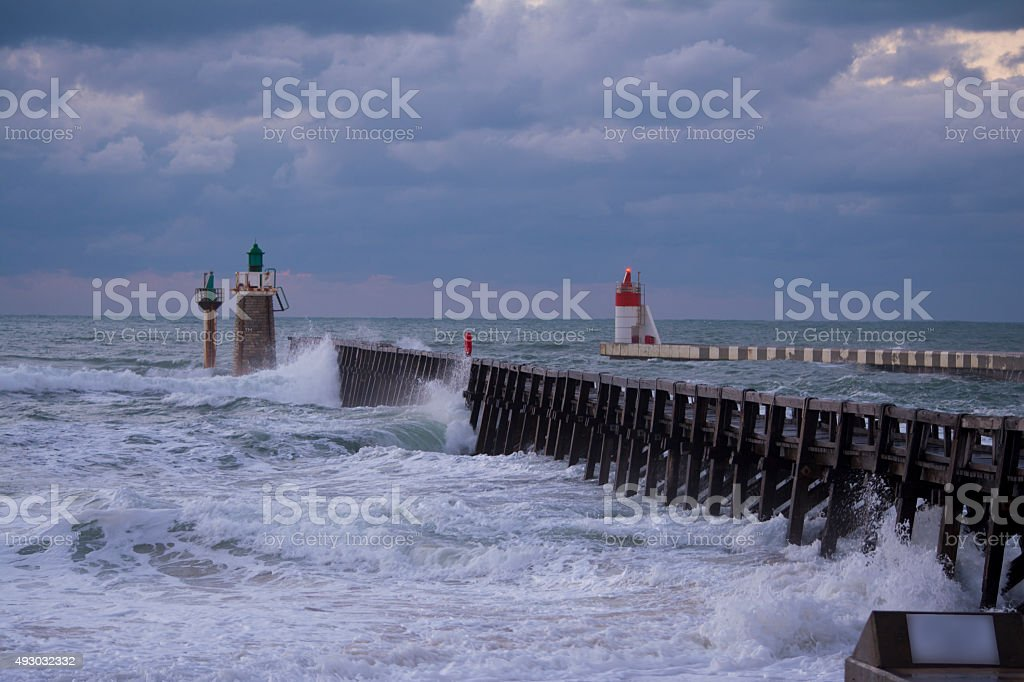 Waves crashing in the promenade. stock photo
