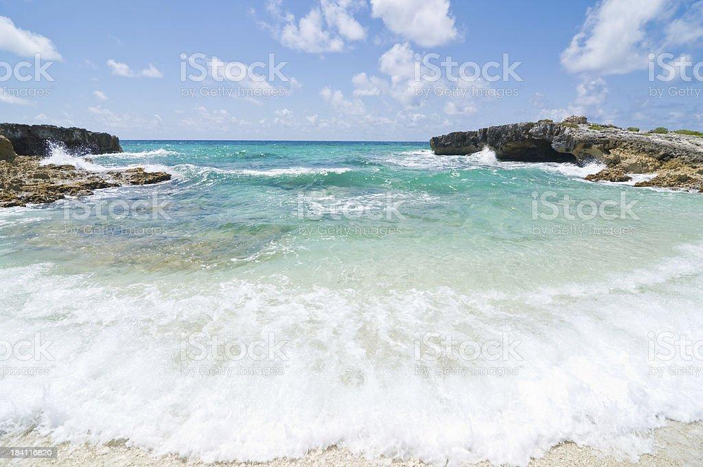 Waves Crashing on the Beach Shore royalty-free stock photo