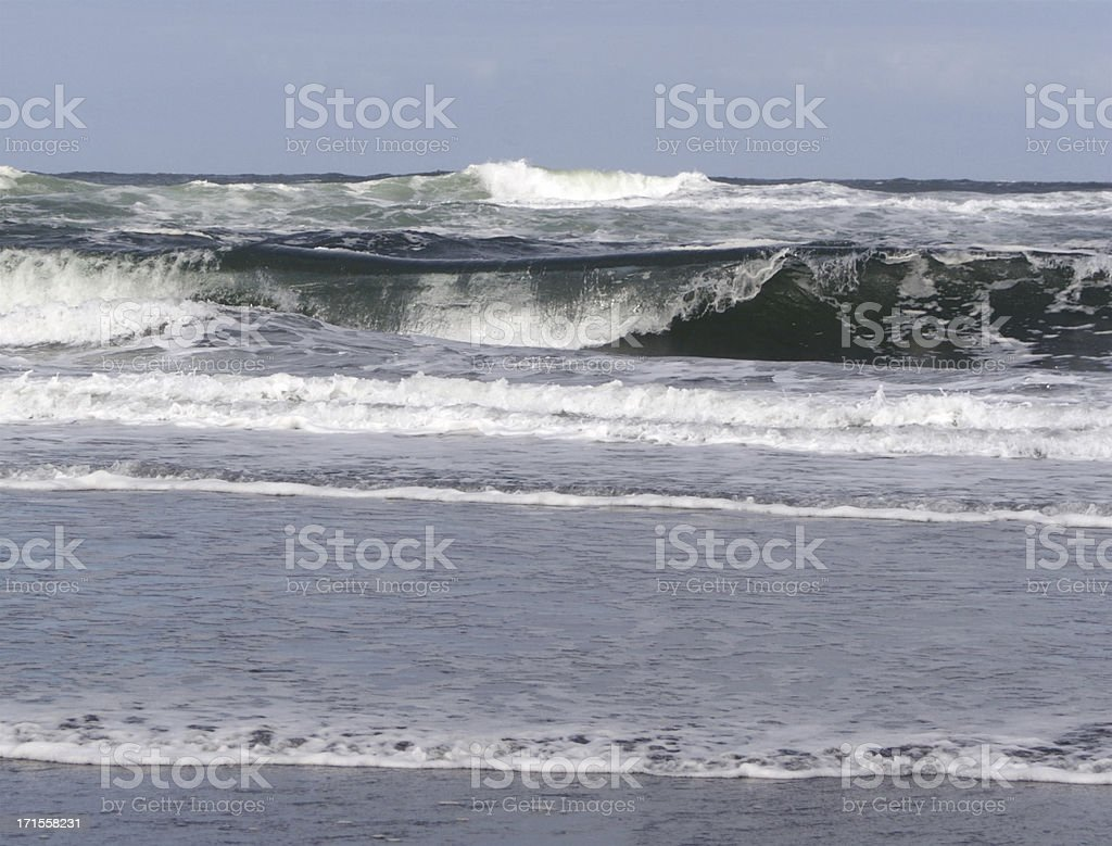 Waves Crashing On the Pacific Ocean Beach royalty-free stock photo