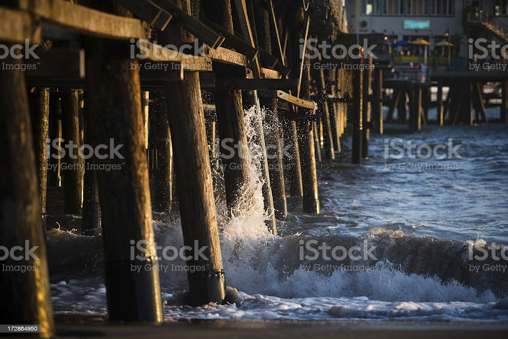 Waves Crashing on the Santa Monica Pier royalty-free stock photo