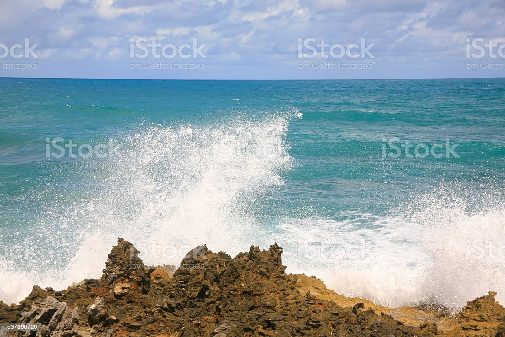 Waves Crashing, Sosua, Dominican Republic stock photo