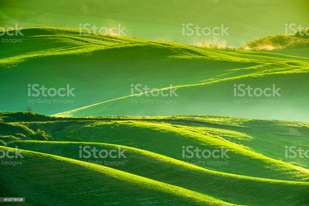 Waves hills, rolling hills, minimalistic landscape stock photo