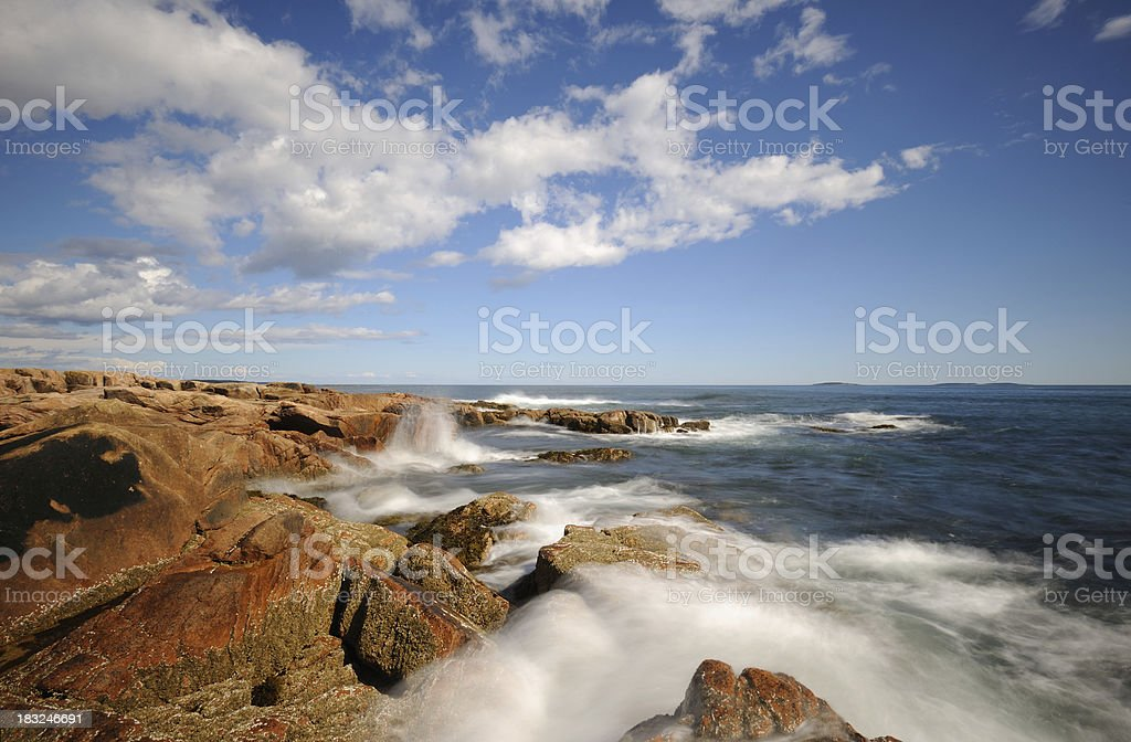 Waves Hitting the Rocky Coastline of Acadia National Park royalty-free stock photo