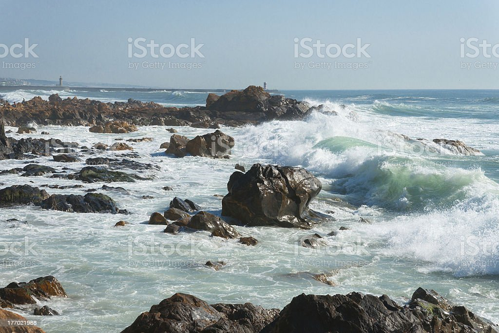 Waves in action stock photo