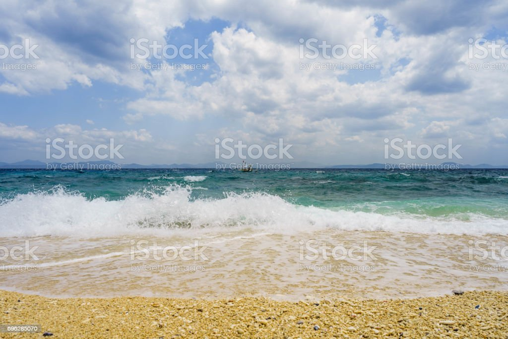 Waves in Fortune island stock photo