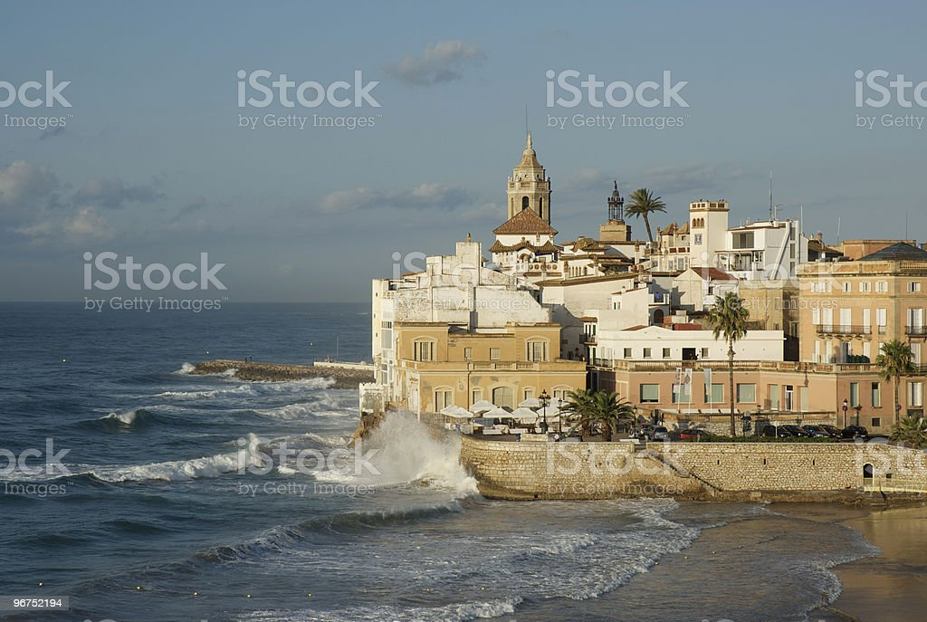Waves in Sitges stock photo