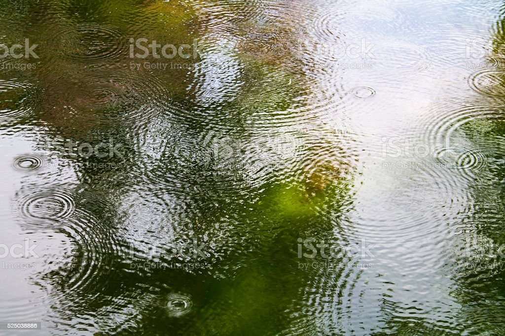 waves made of raindrops on the water stock photo