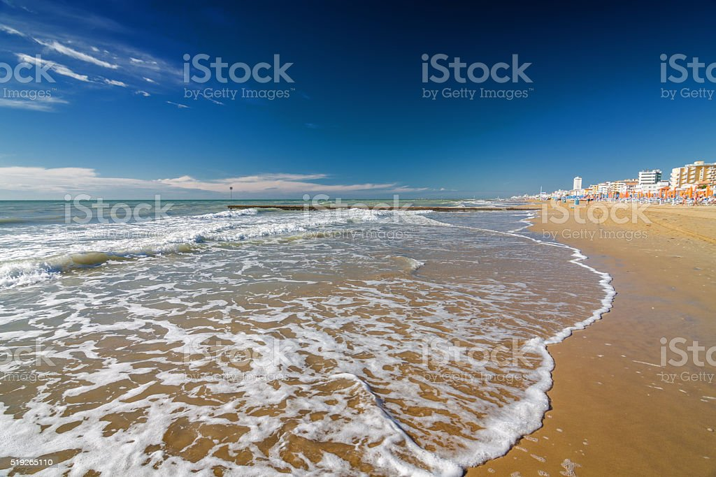 Waves of Lido di Jesolo near Venice, Veneto region, Italy. stock photo