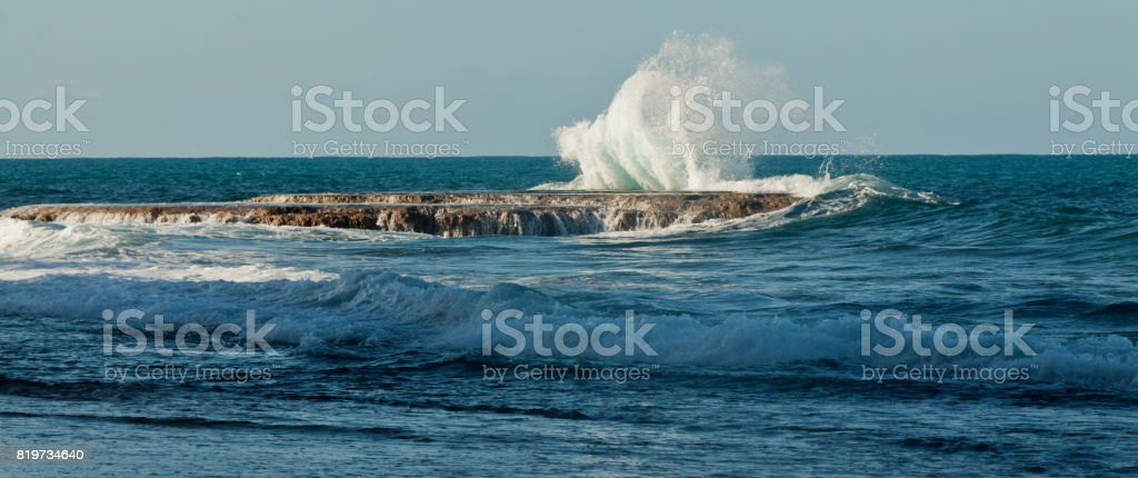 Waves of the Pacific Ocean crashing, Ecuador stock photo