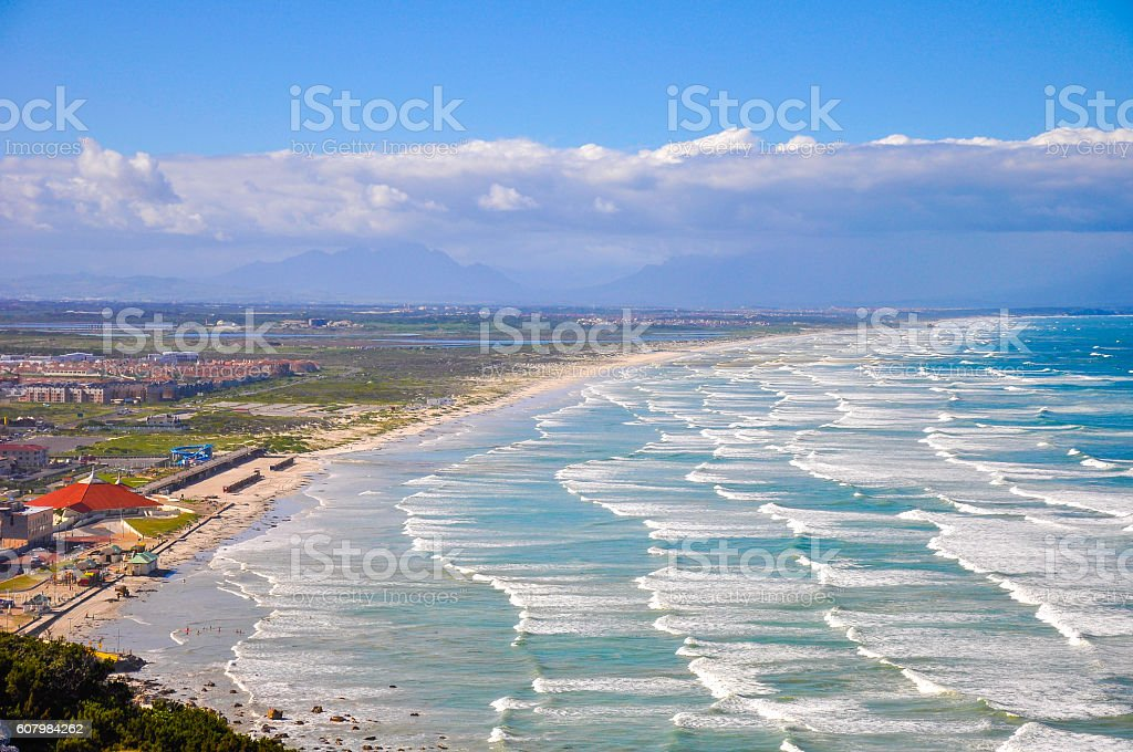 TL Waves on Muizenberg Beach,Cape Town, South Africa stock photo