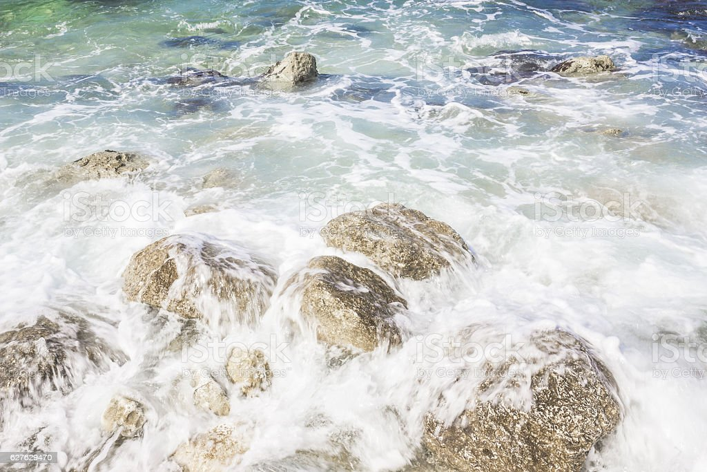 Waves on rocks in sunny day, Portonovo, Italy stock photo