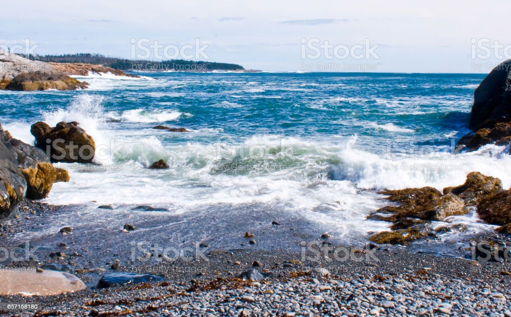 Waves on Rocky Maine Shoreline stock photo