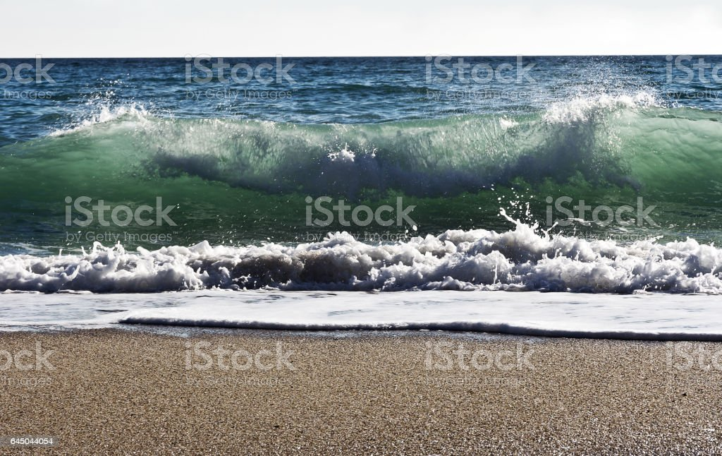 Waves on the beach of the Black Sea in Bulgaria stock photo