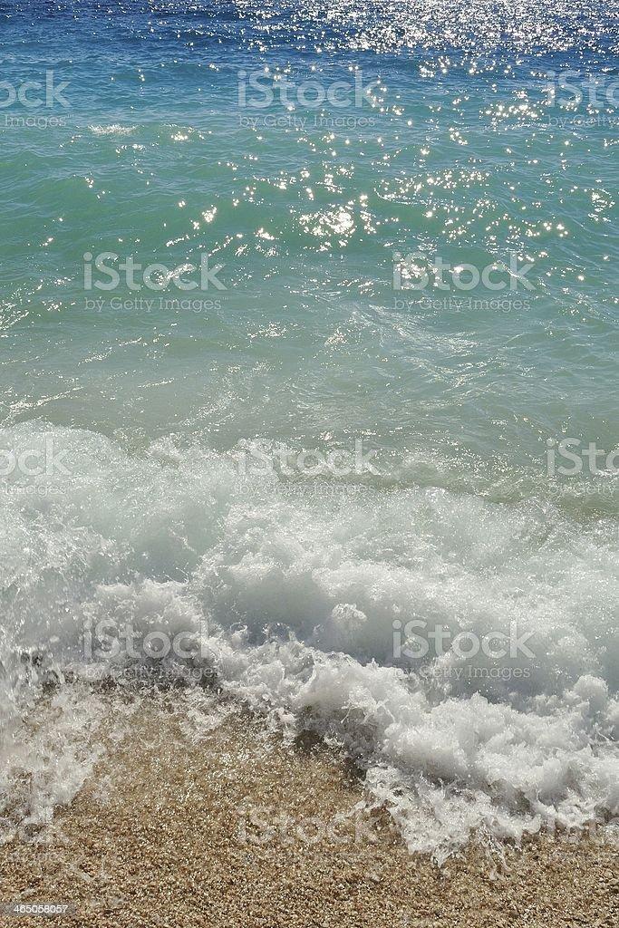 Fale na plaży.  Podgora, Chorwacja zbiór zdjęć royalty-free