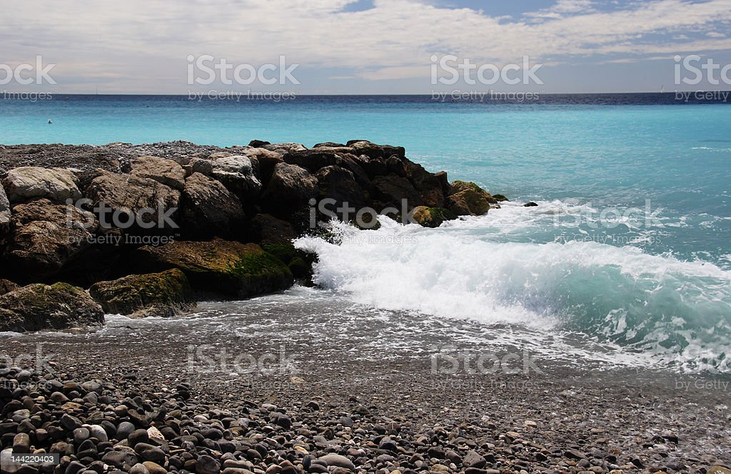 Waves on the groin royalty-free stock photo