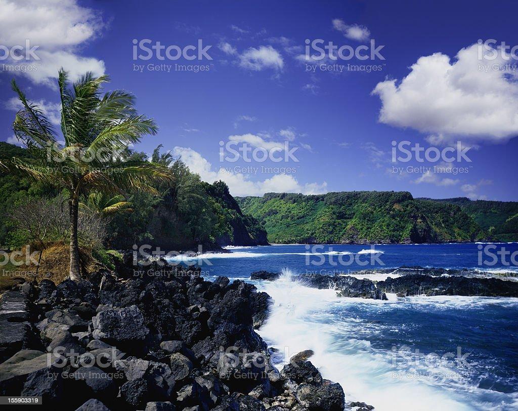 Waves on the Maui coastline in Hawaii stock photo