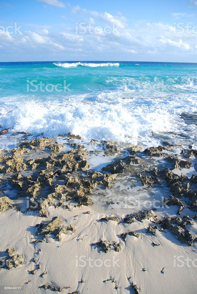 Waves on the Rocks at Punta Sur royalty-free stock photo